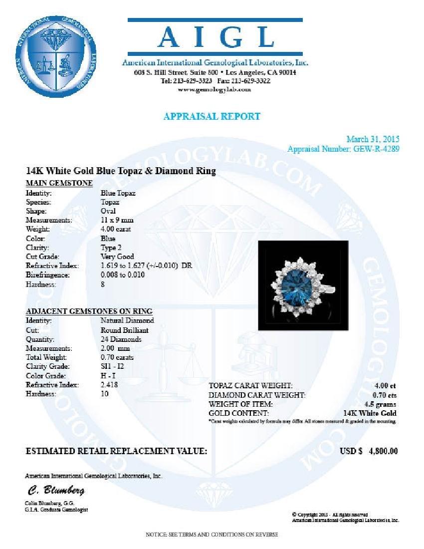 14k White Gold 4.00ct Topaz 0.70ct Diamond Ring - 4
