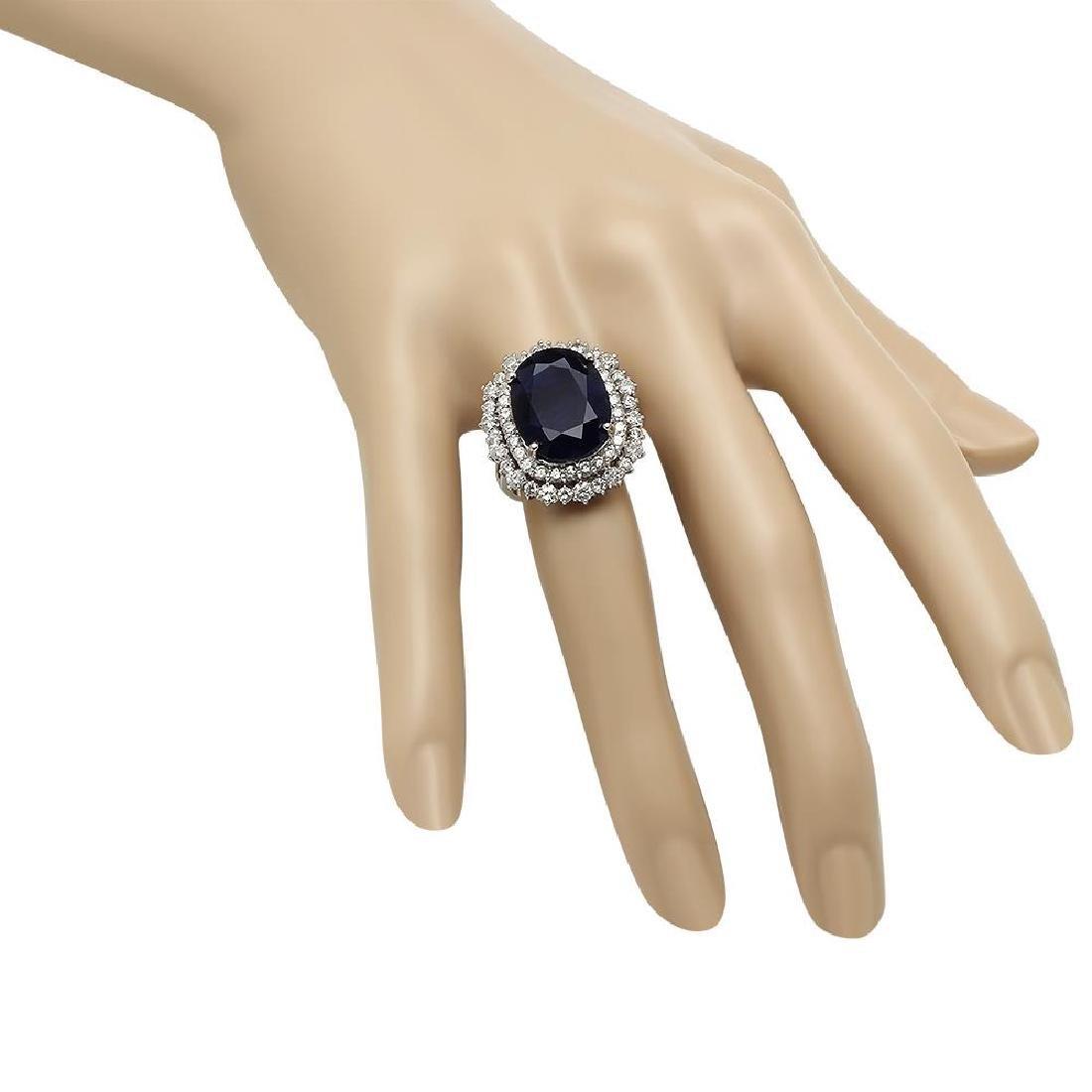 14K Gold 14.70ct Sapphire 2.10ct Diamond Ring - 3