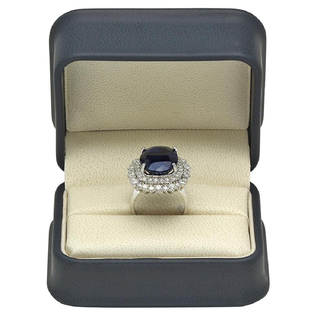 14K Gold 14.70ct Sapphire 2.10ct Diamond Ring - 4