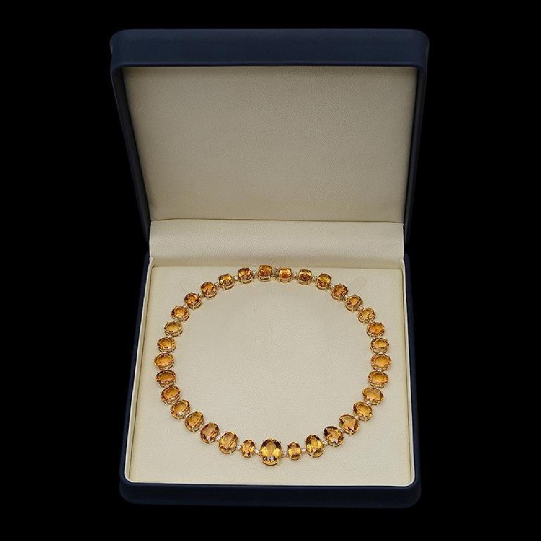 14K Gold 152.53ct Citrine & 4.10ct Diamond Necklace - 2