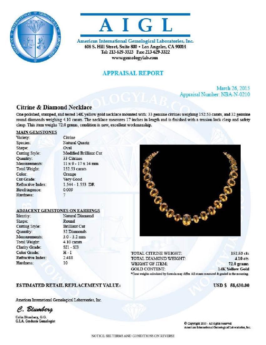 14K Gold 152.53ct Citrine & 4.10ct Diamond Necklace - 3