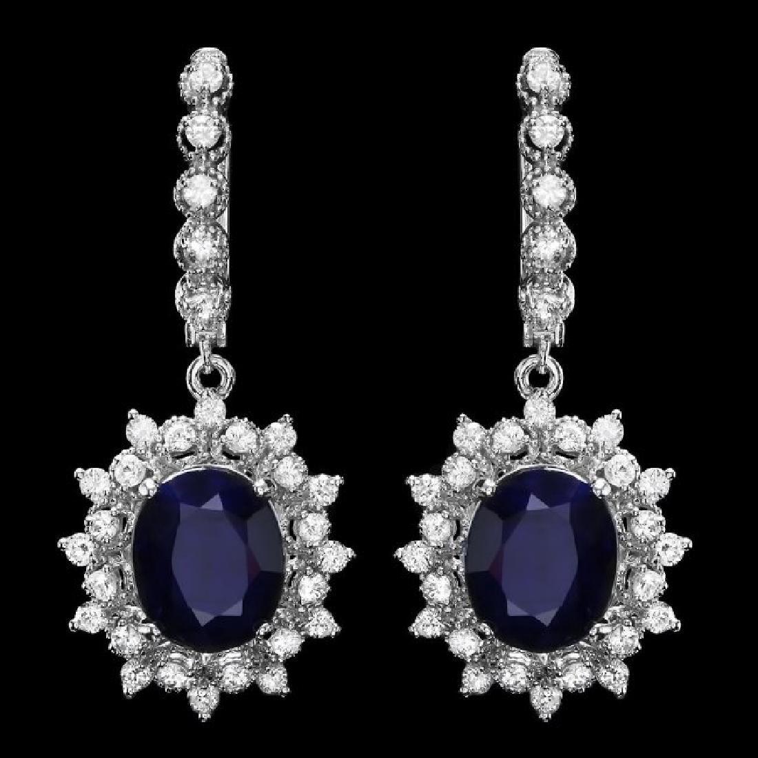 14k Gold 10.00ct Sapphire 1.90ct Diamond Earrings