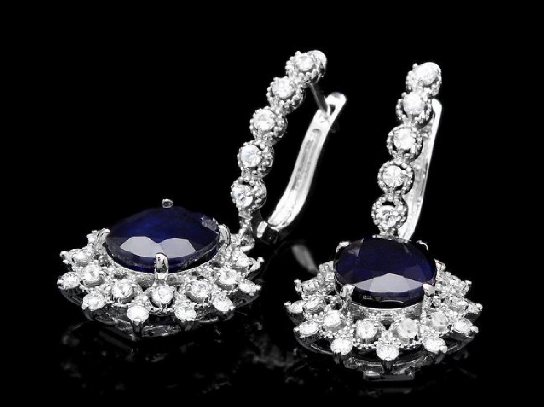 14k Gold 10.00ct Sapphire 1.90ct Diamond Earrings - 2
