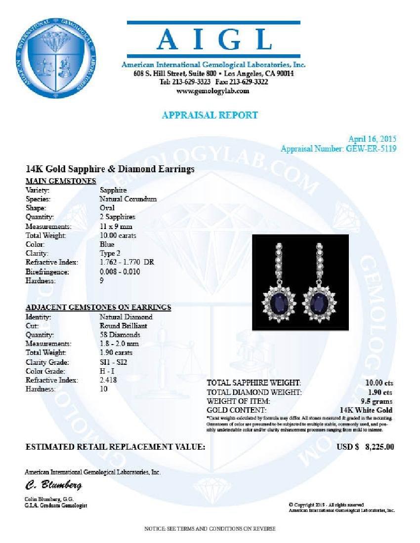 14k Gold 10.00ct Sapphire 1.90ct Diamond Earrings - 3