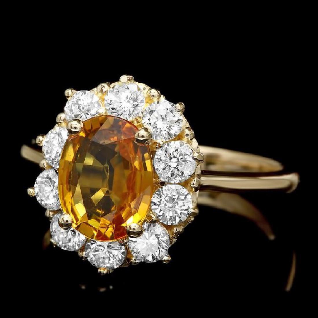 14k Gold 2.00ct Sapphire 1.00ct Diamond Ring