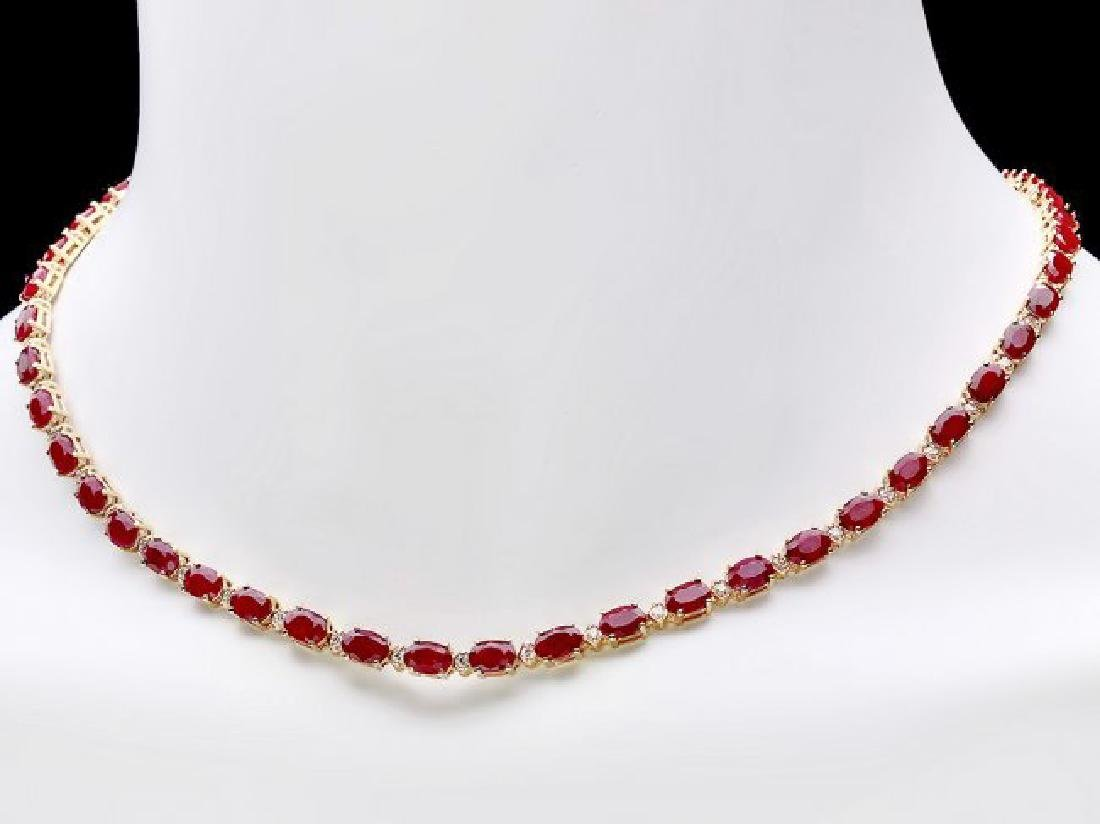 14k Gold 28.00ct Ruby 1.20ct Diamond Necklace - 2