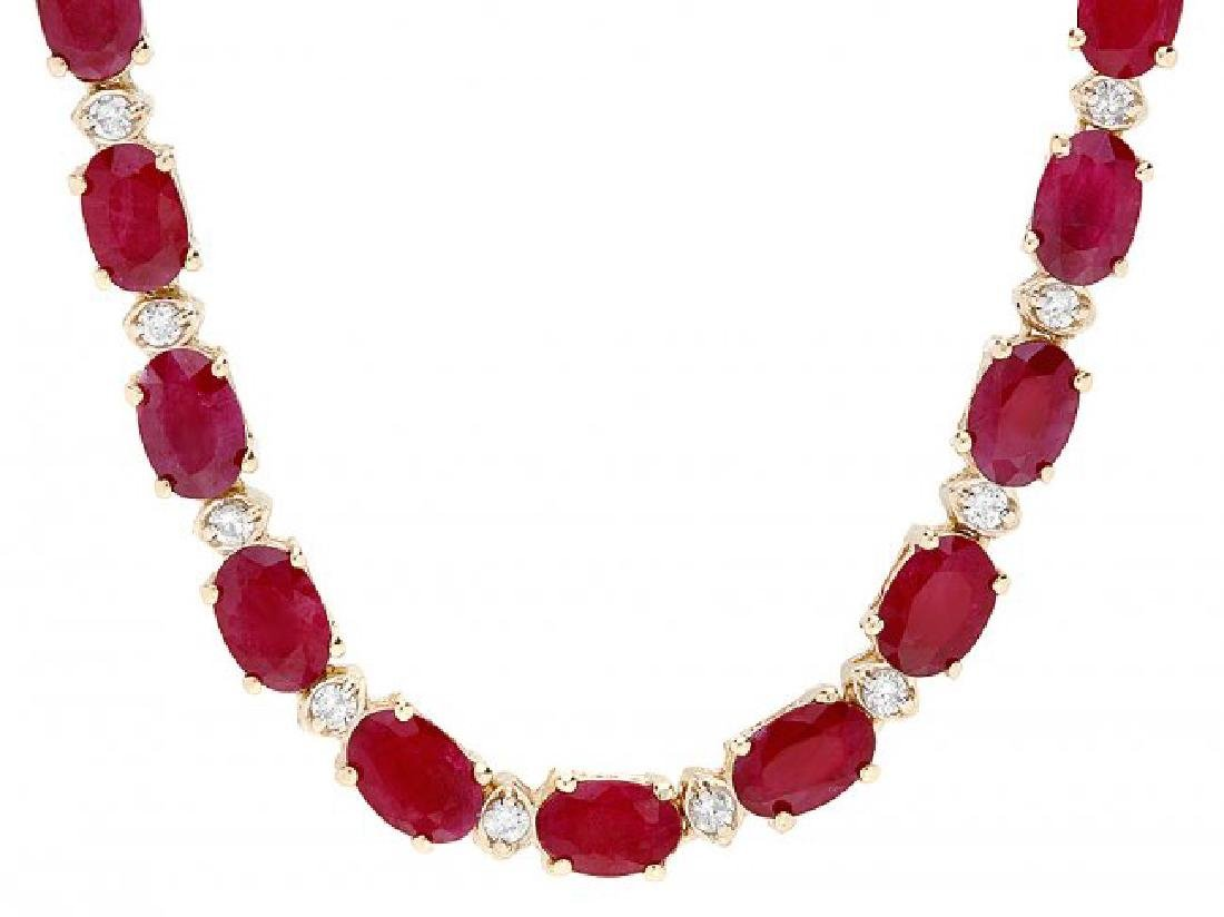 14k Gold 28.00ct Ruby 1.20ct Diamond Necklace - 3