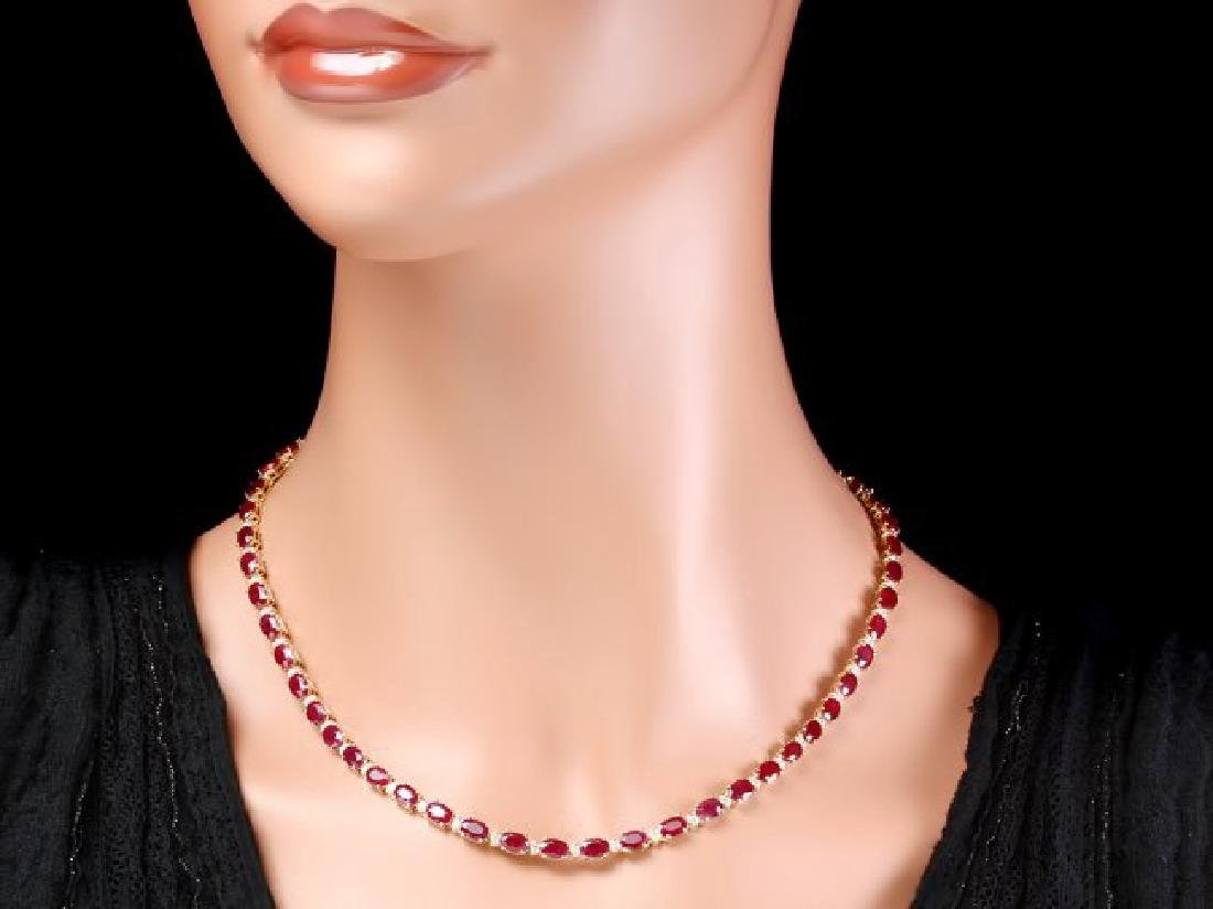 14k Gold 28.00ct Ruby 1.20ct Diamond Necklace - 6