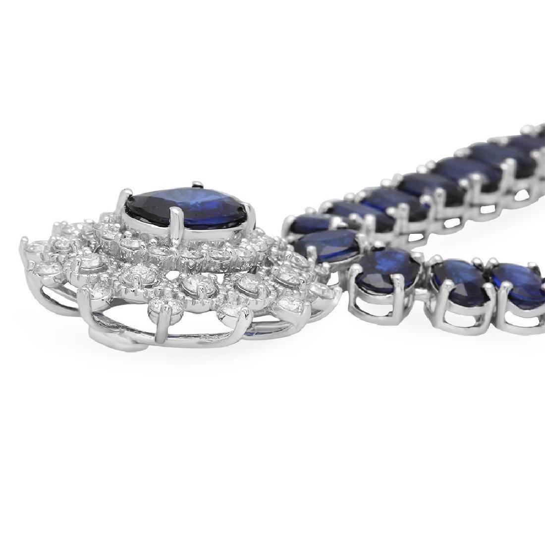 14K Gold 54.01ct Sapphire 2.67ct Diamond Necklace - 2