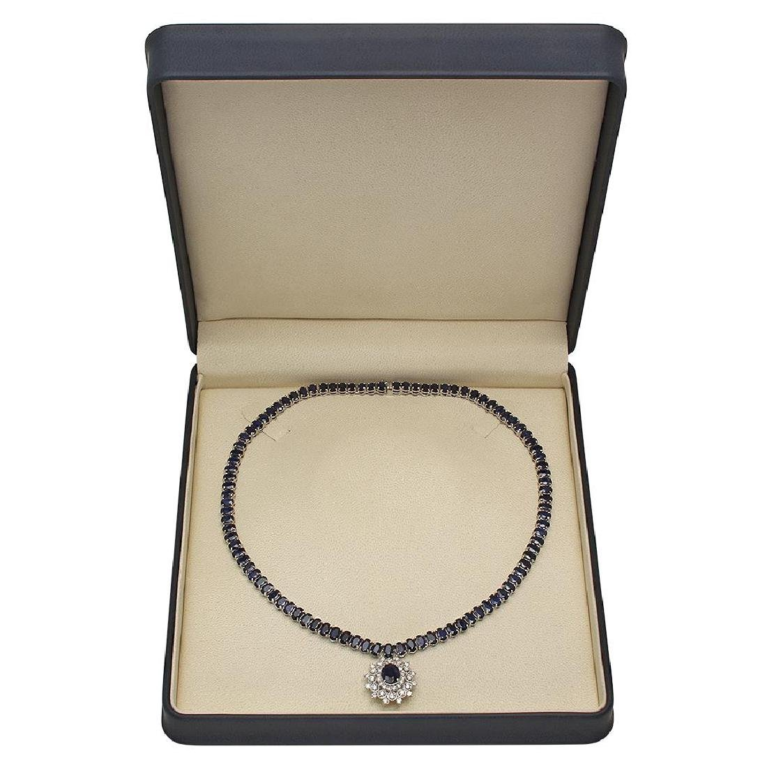 14K Gold 54.01ct Sapphire 2.67ct Diamond Necklace - 4