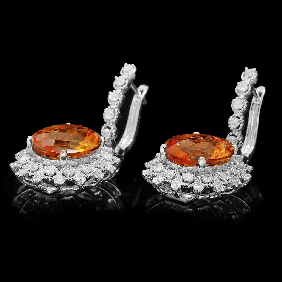 14K Gold 12.71ct Citrine 2.08ct Diamond Earrings - 2