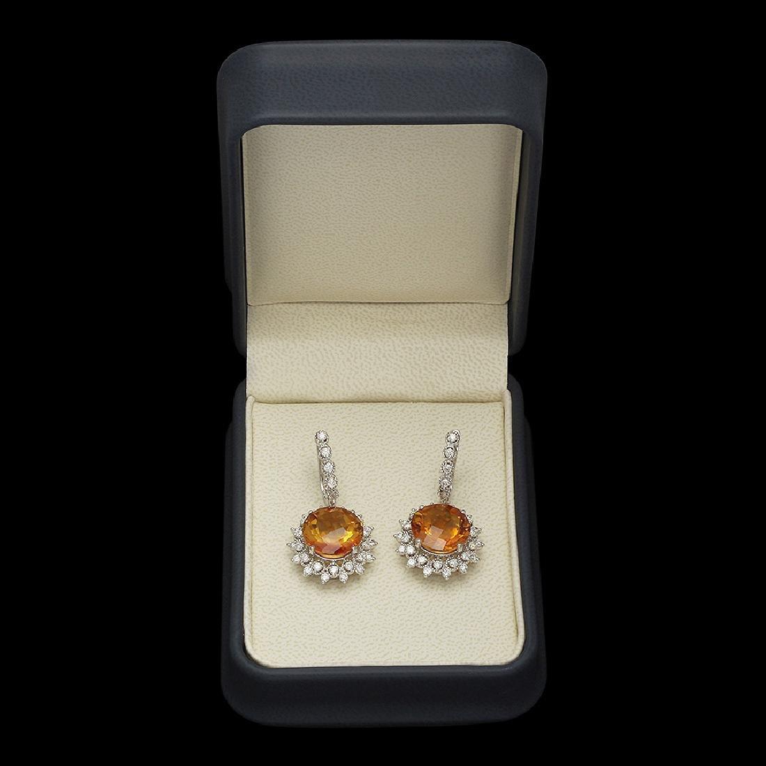 14K Gold 12.71ct Citrine 2.08ct Diamond Earrings - 3