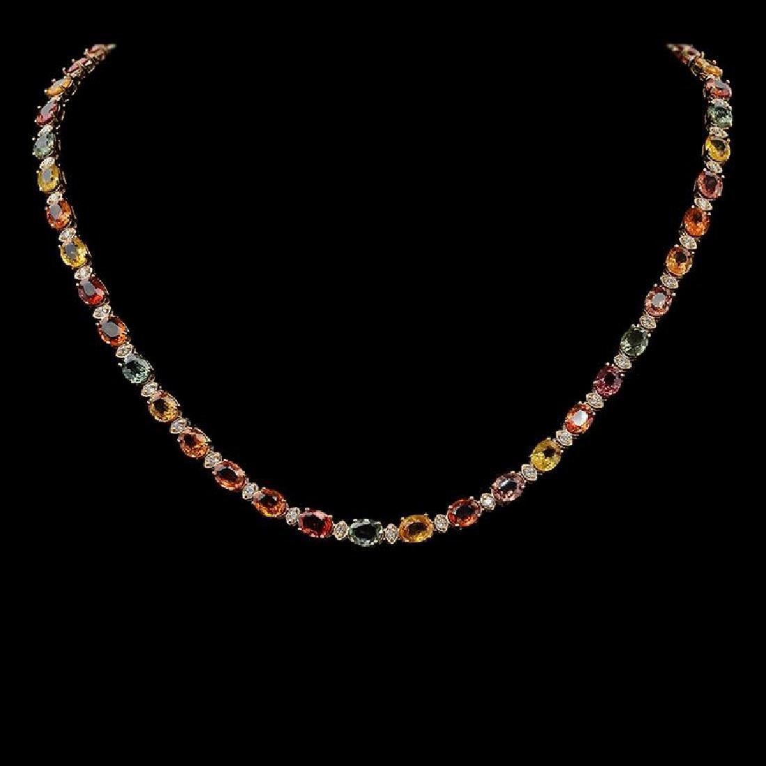 14K Gold 35.35ct Multi Color Sapphire 1.41ct Diamond