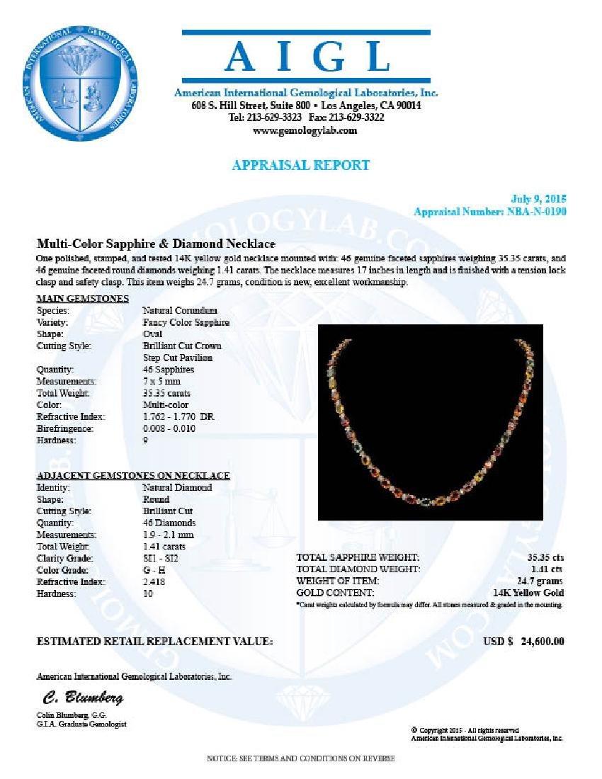 14K Gold 35.35ct Multi Color Sapphire 1.41ct Diamond - 3