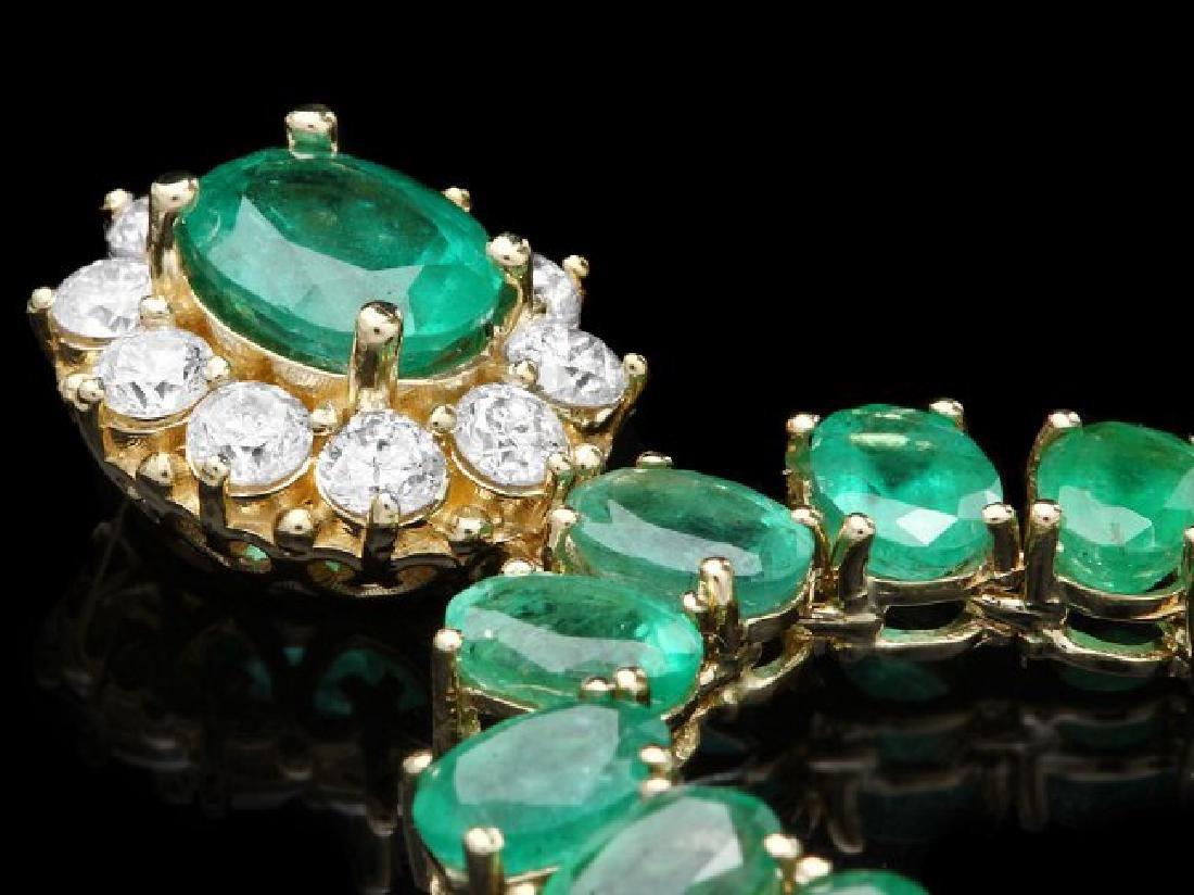 14k Gold 41.75ct Emerald 0.95ct Diamond Necklace - 3
