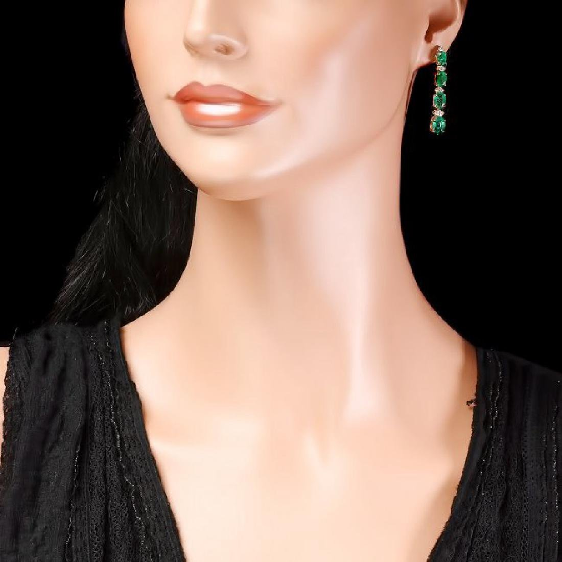 14k Gold 6.5ct Emerald .35ct Diamond Earrings - 4