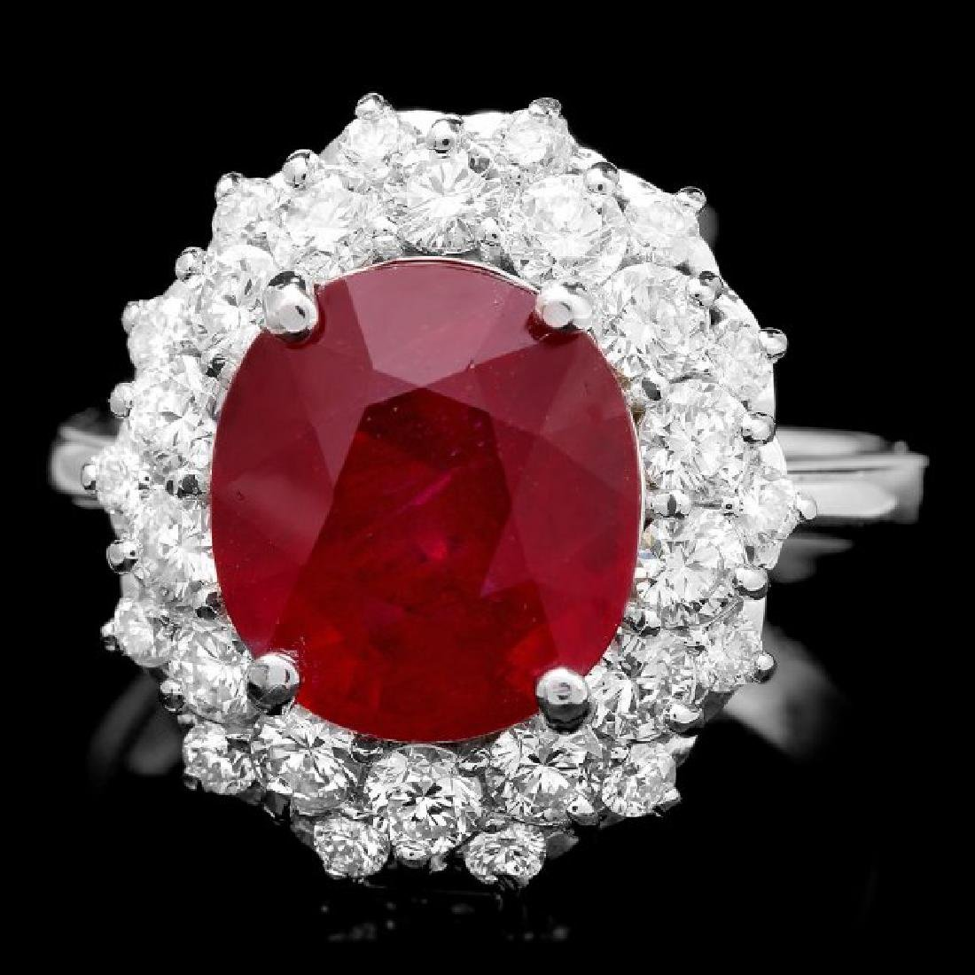 14k White Gold 6.50ct Ruby 1.50ct Diamond Ring
