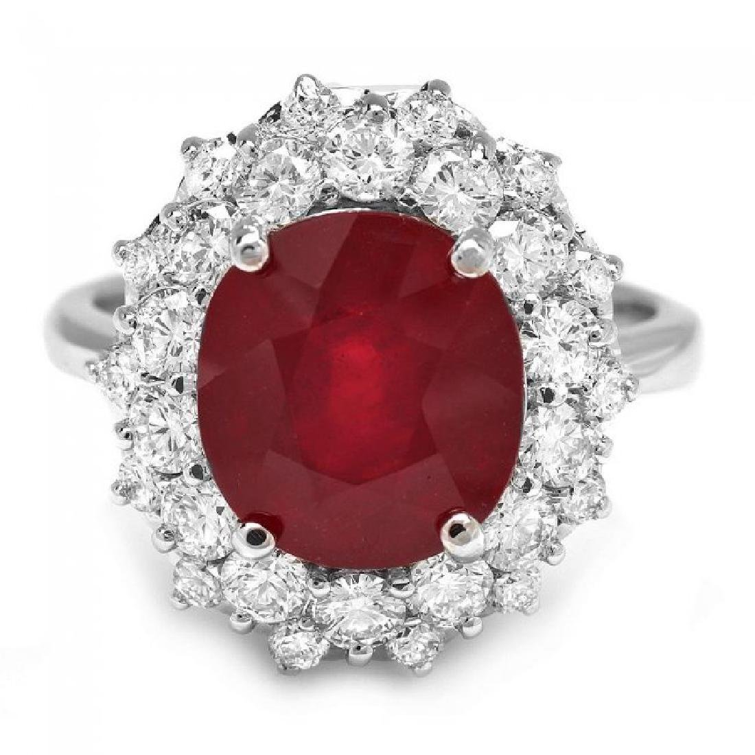 14k White Gold 6.50ct Ruby 1.50ct Diamond Ring - 2