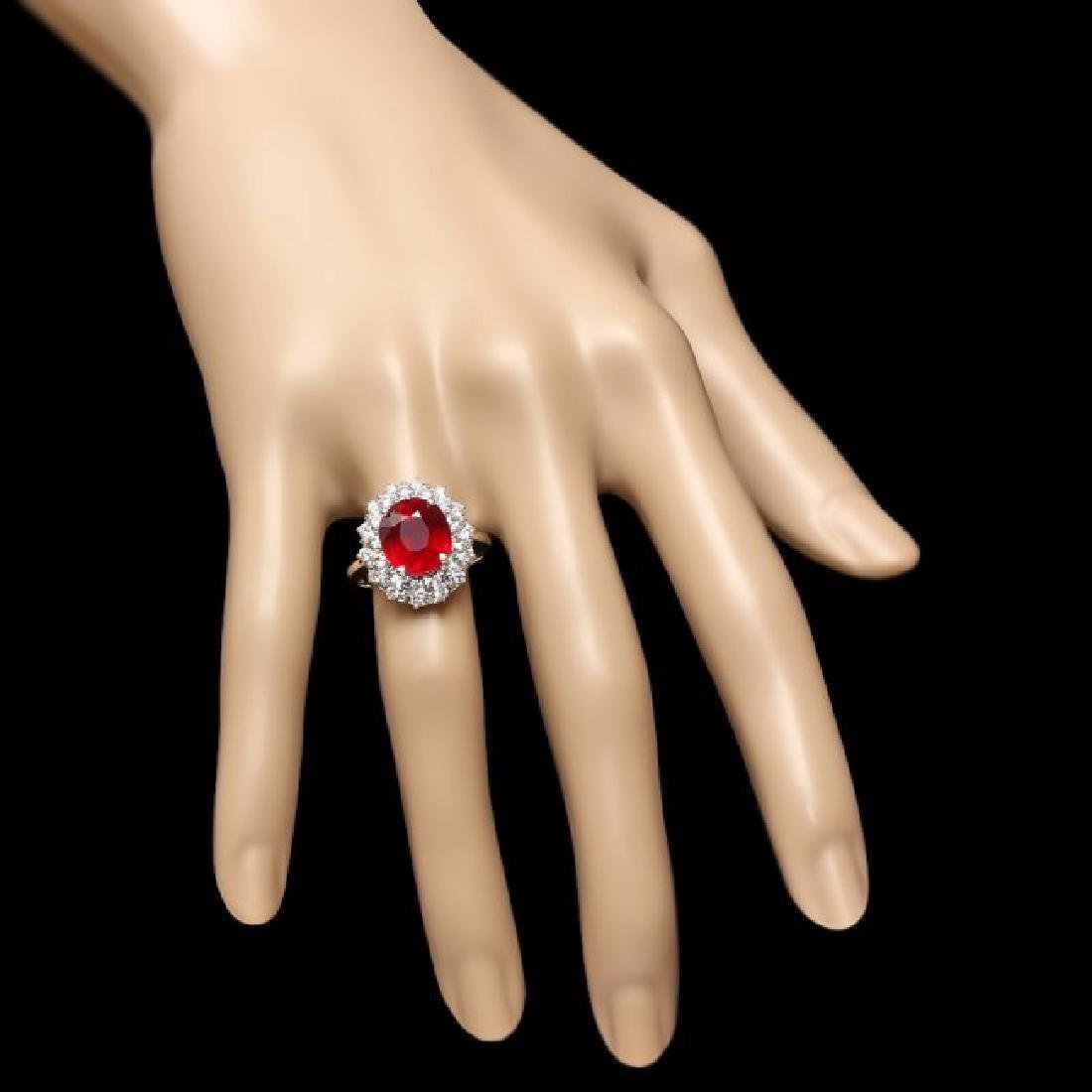 14k White Gold 6.50ct Ruby 1.50ct Diamond Ring - 4