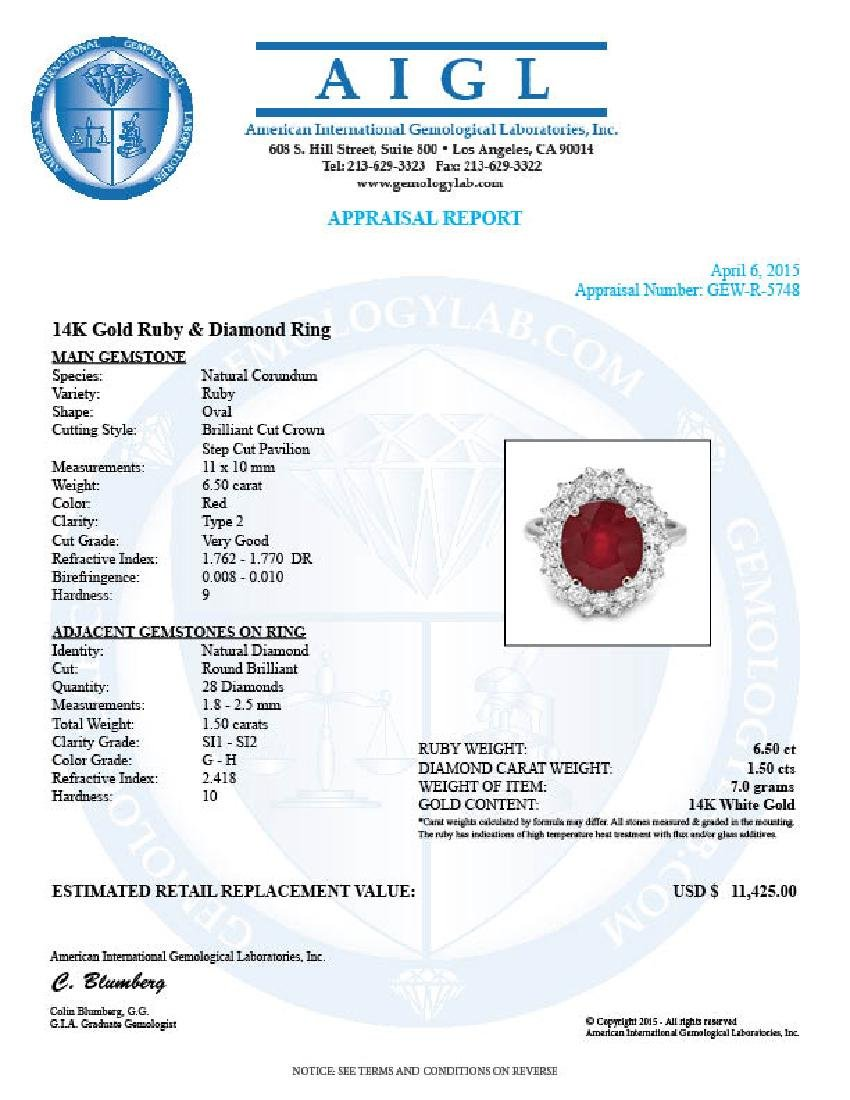 14k White Gold 6.50ct Ruby 1.50ct Diamond Ring - 5