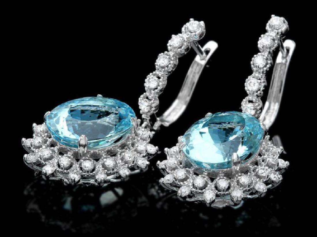 14k Gold 13ct Aquamarine 1.50ct Diamond Earrings - 2