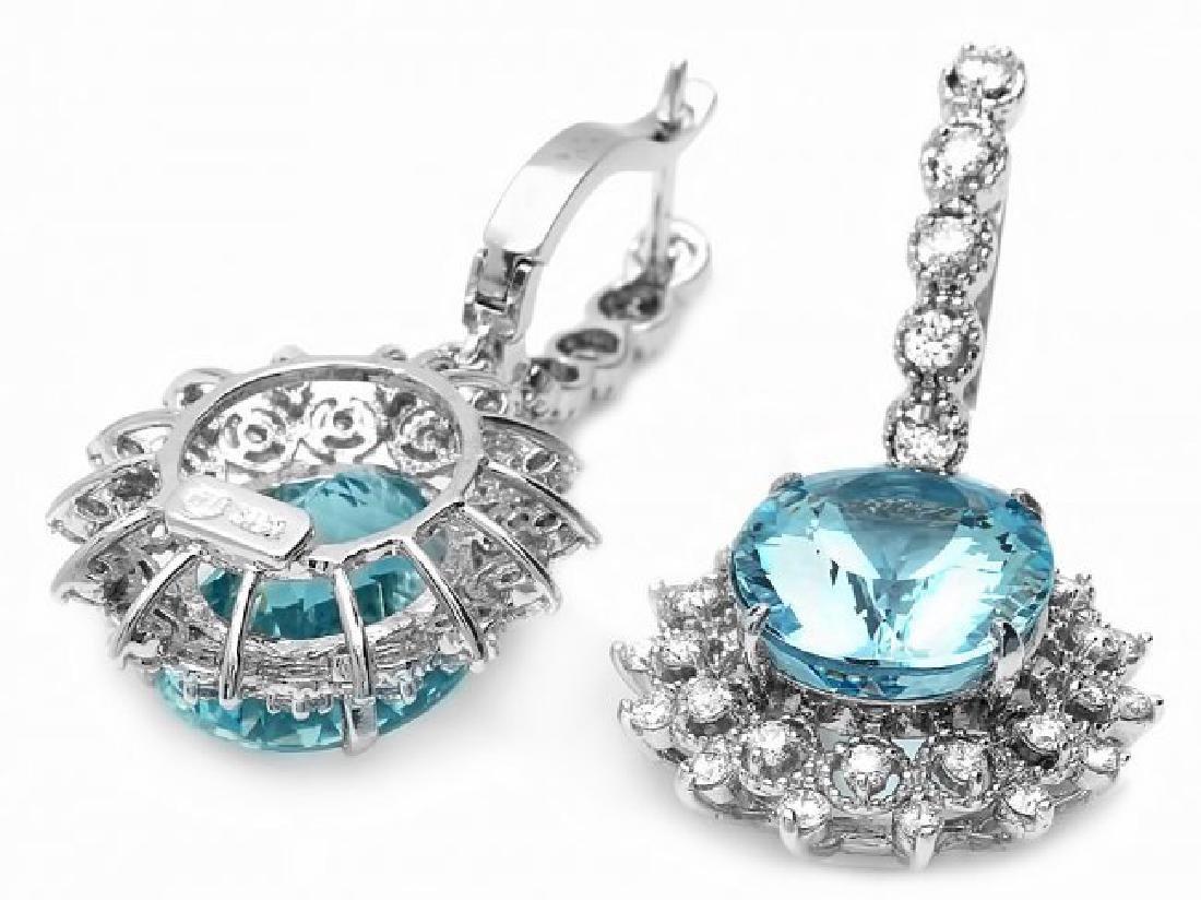 14k Gold 13ct Aquamarine 1.50ct Diamond Earrings - 3