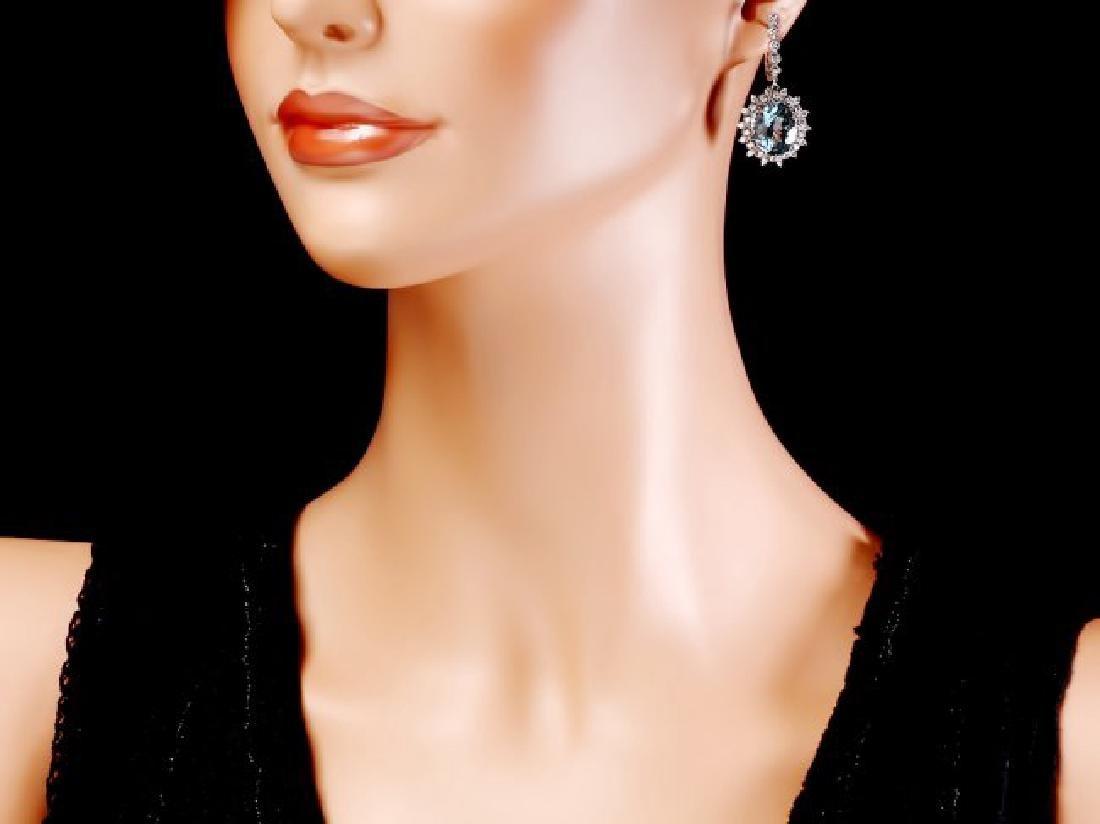 14k Gold 13ct Aquamarine 1.50ct Diamond Earrings - 4