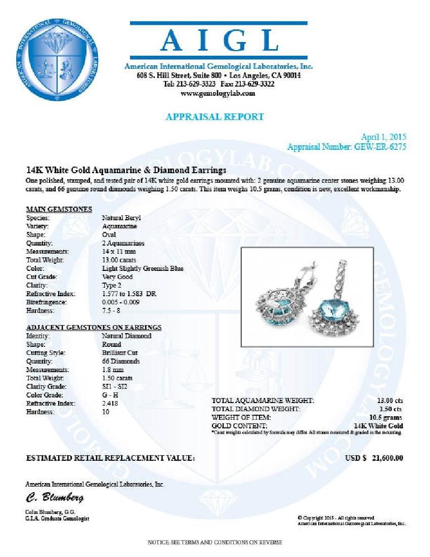 14k Gold 13ct Aquamarine 1.50ct Diamond Earrings - 5