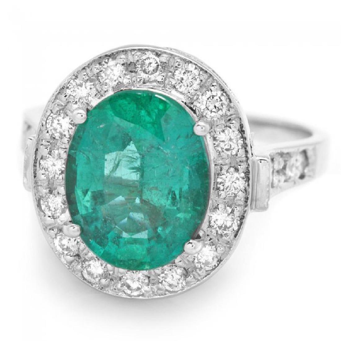 14k White Gold 3.50ct Emerald 0.70ct Diamond Ring - 2