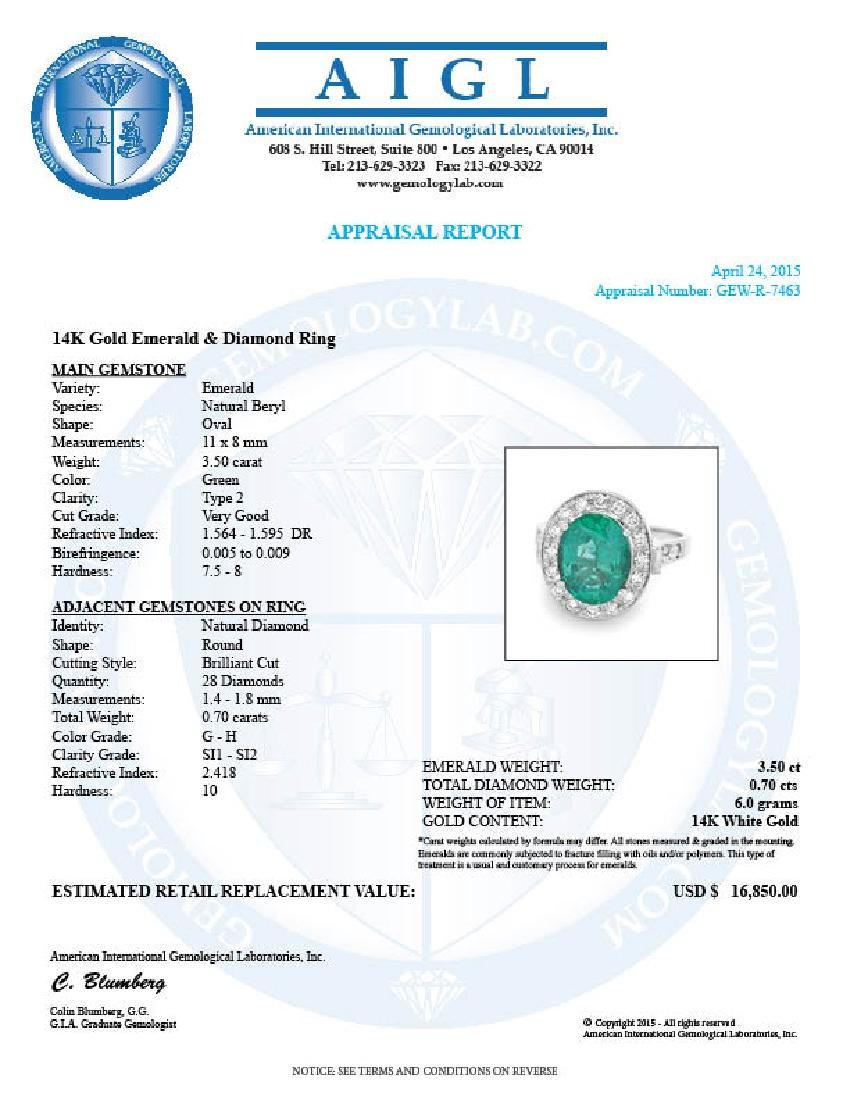 14k White Gold 3.50ct Emerald 0.70ct Diamond Ring - 6