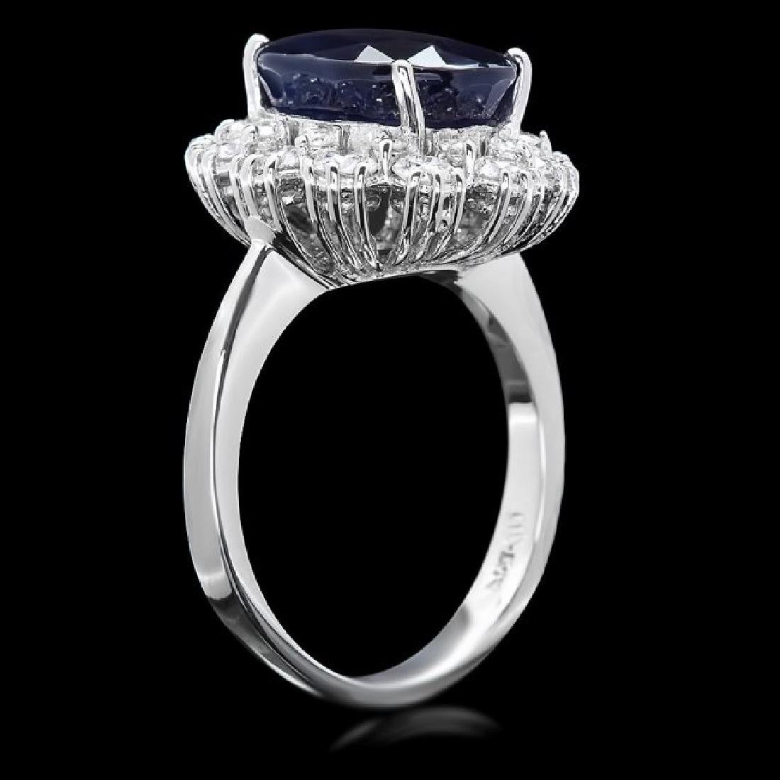 14k Gold 6.50ct Sapphire 1.25ct Diamond Ring - 3
