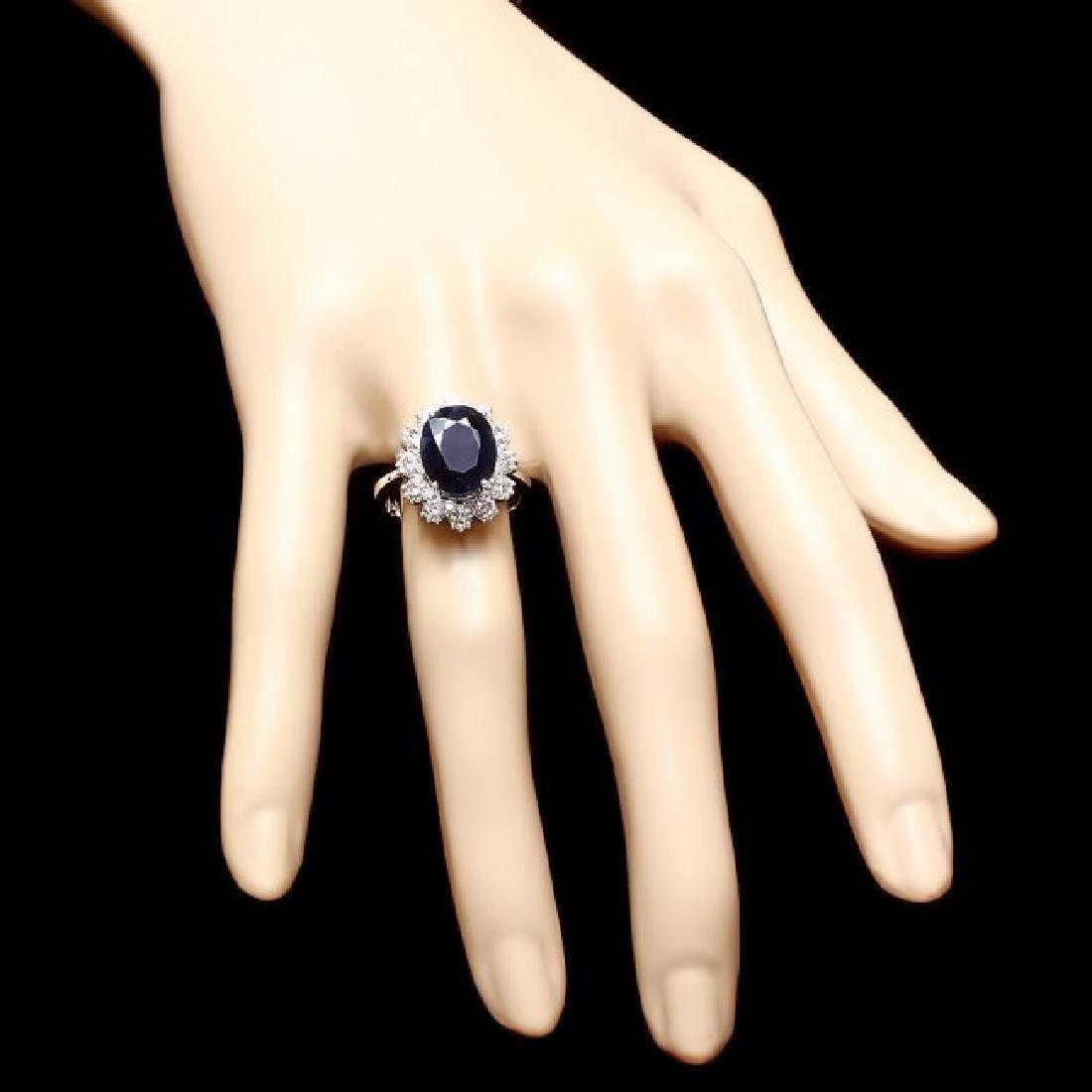14k Gold 6.50ct Sapphire 1.25ct Diamond Ring - 4