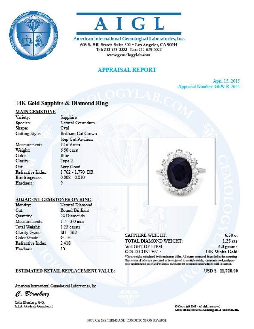 14k Gold 6.50ct Sapphire 1.25ct Diamond Ring - 5
