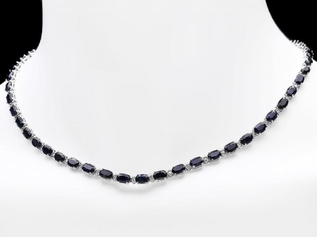 14k Gold 34ct Sapphire 0.90ct Diamond Necklace - 2