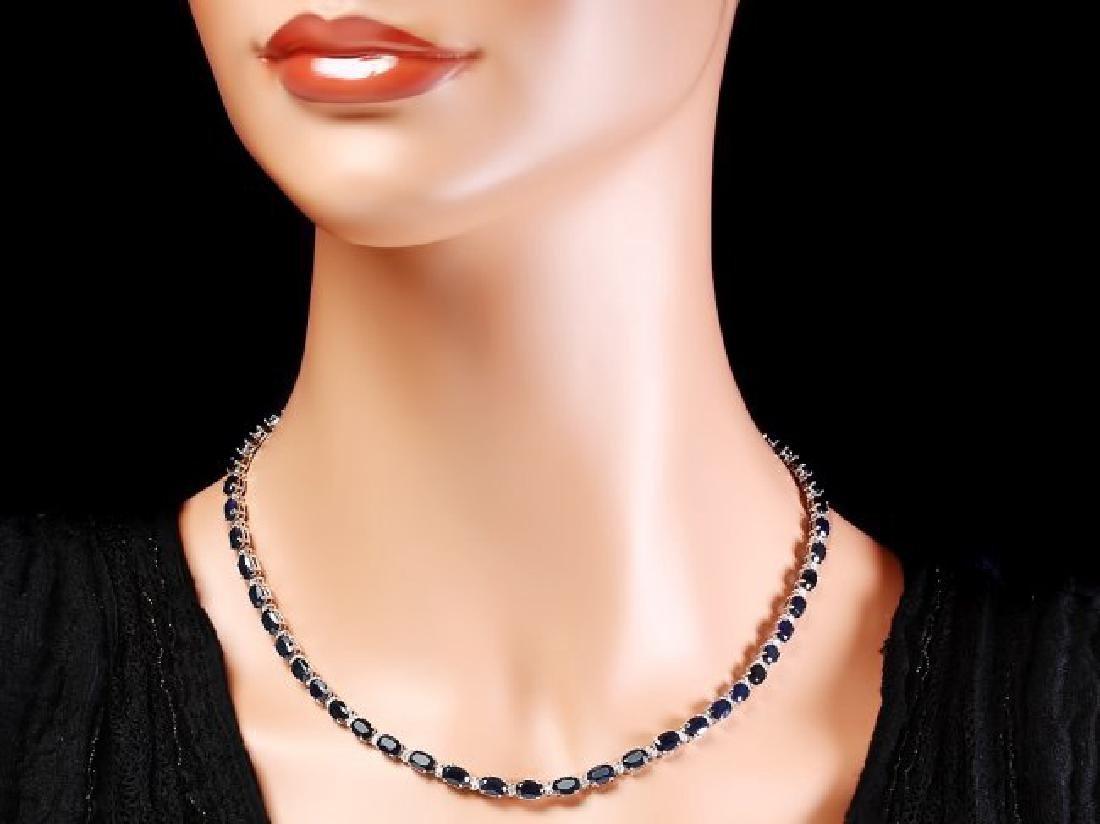 14k Gold 34ct Sapphire 0.90ct Diamond Necklace - 5