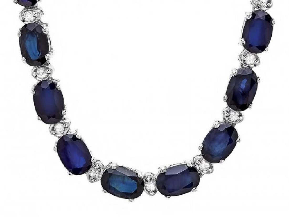 14k Gold 34ct Sapphire 0.90ct Diamond Necklace - 6