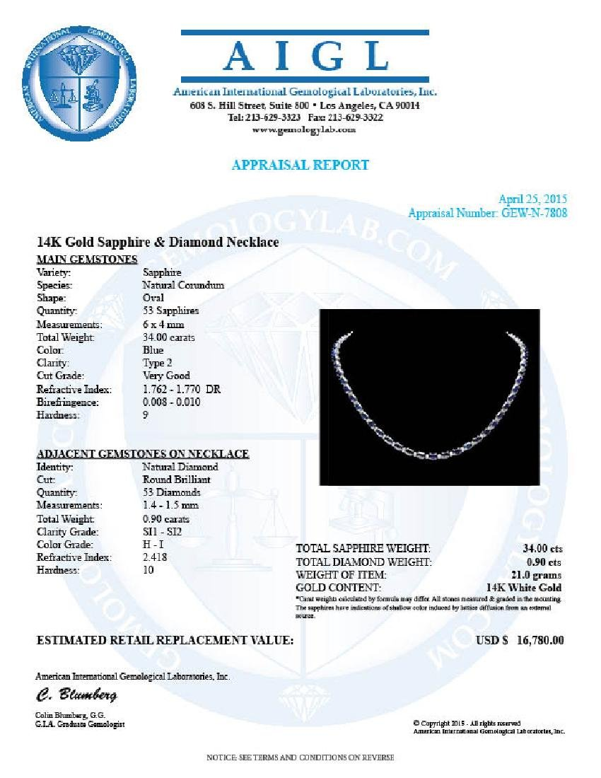14k Gold 34ct Sapphire 0.90ct Diamond Necklace - 7