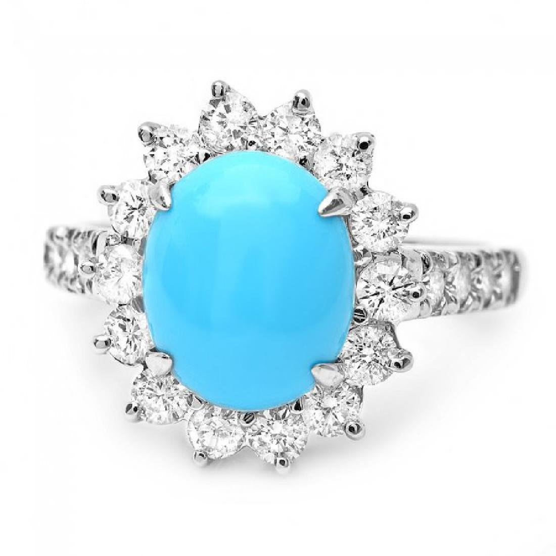 14k Gold 2.50ct Turquoise 1.20ct Diamond Ring - 2