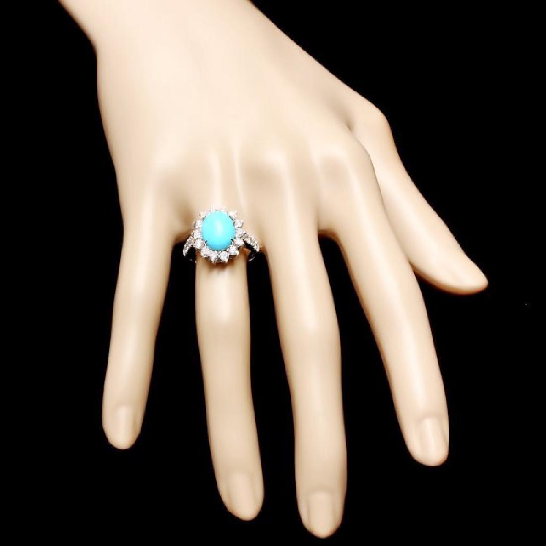 14k Gold 2.50ct Turquoise 1.20ct Diamond Ring - 4