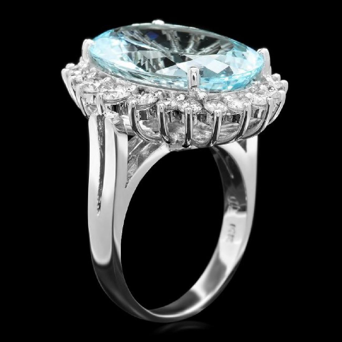14k Gold 9.00ct Aquamarine 1.30ct Diamond Ring - 2