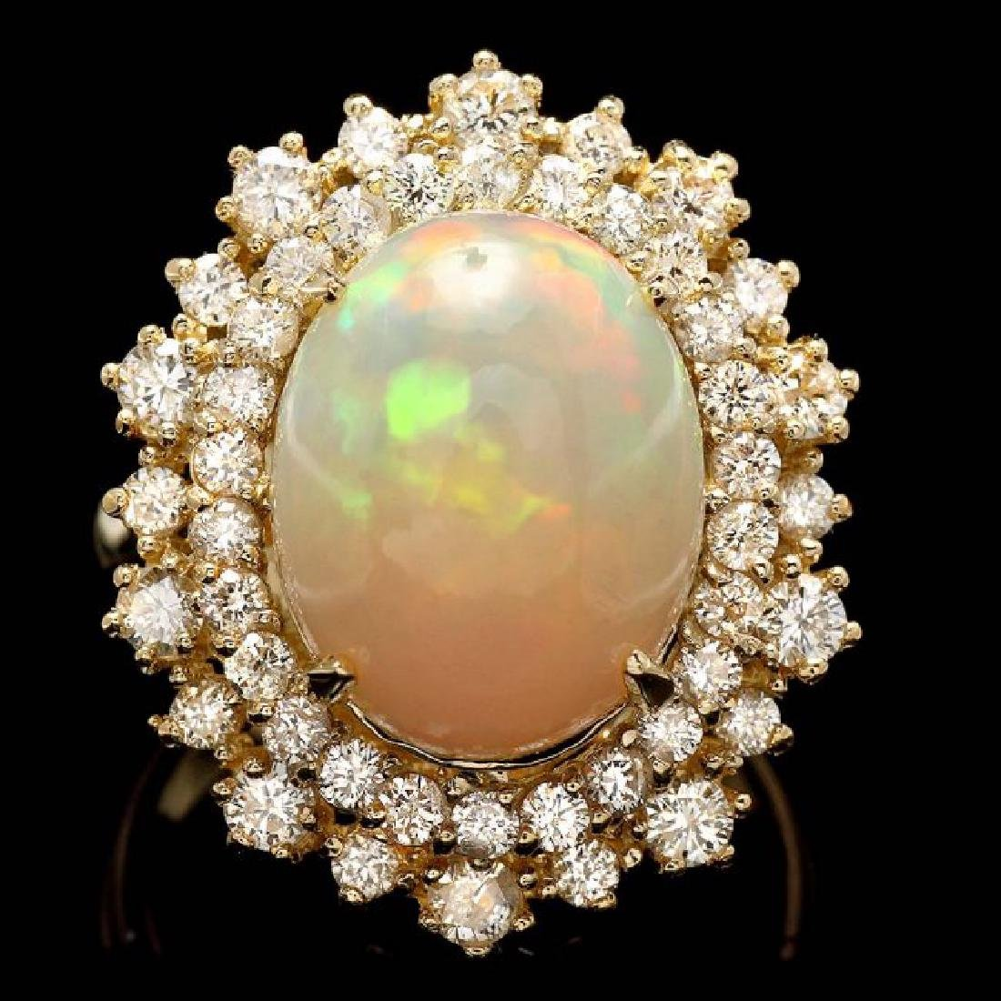 14k Yellow Gold 5.00ct Opal 1.42ct Diamond Ring