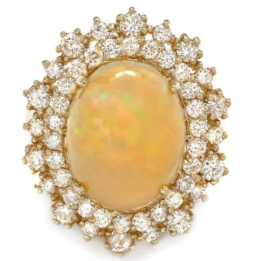 14k Yellow Gold 5.00ct Opal 1.42ct Diamond Ring - 2