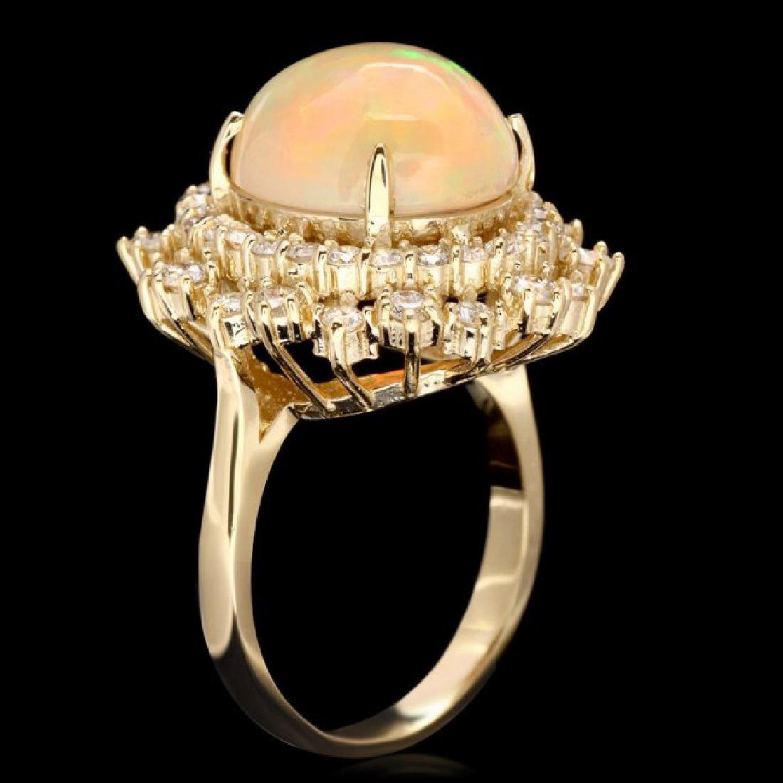 14k Yellow Gold 5.00ct Opal 1.42ct Diamond Ring - 3