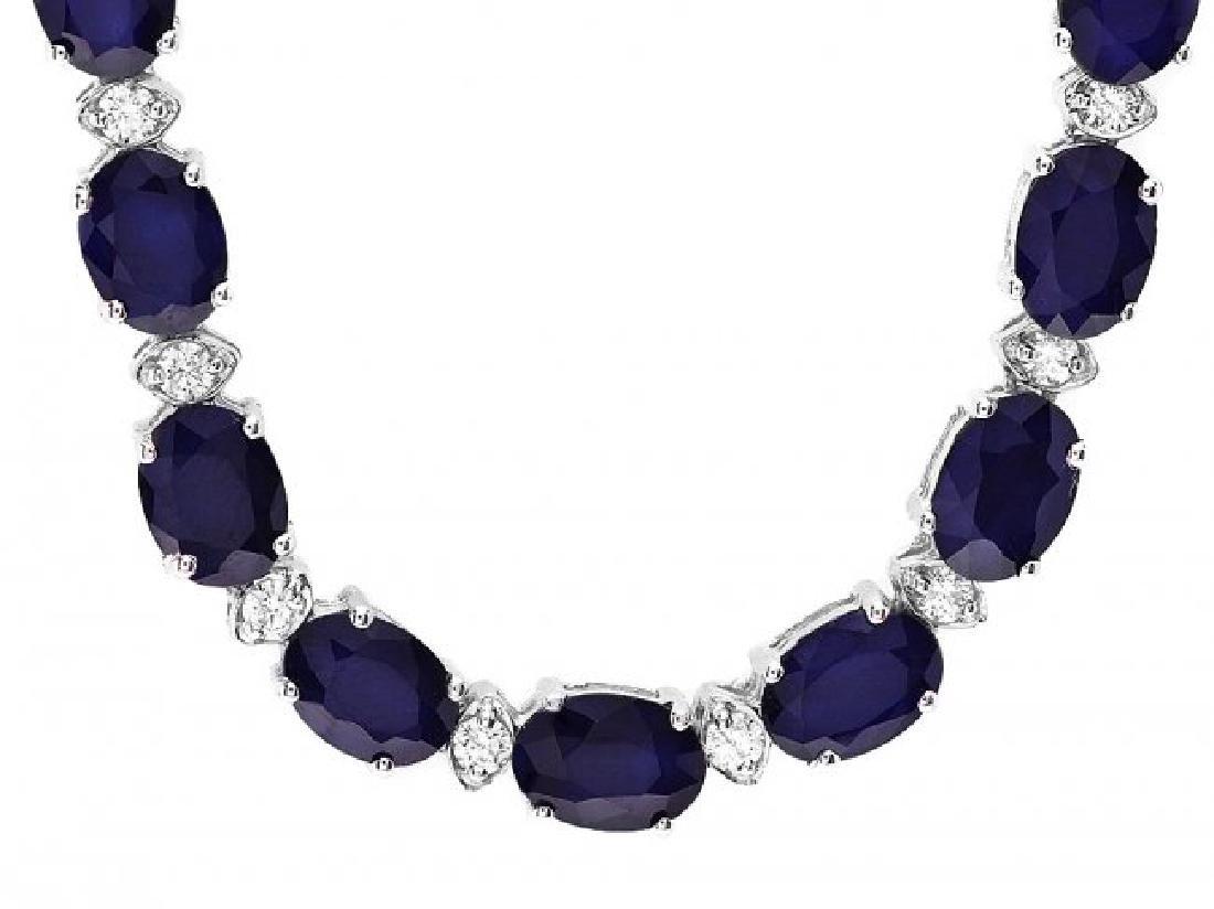14k Gold 37ct Sapphire 1.85ct Diamond Necklace - 2