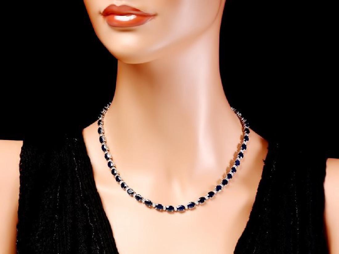 14k Gold 37ct Sapphire 1.85ct Diamond Necklace - 4