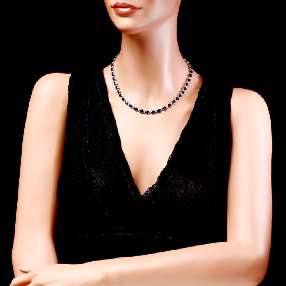14k Gold 37ct Sapphire 1.85ct Diamond Necklace - 5