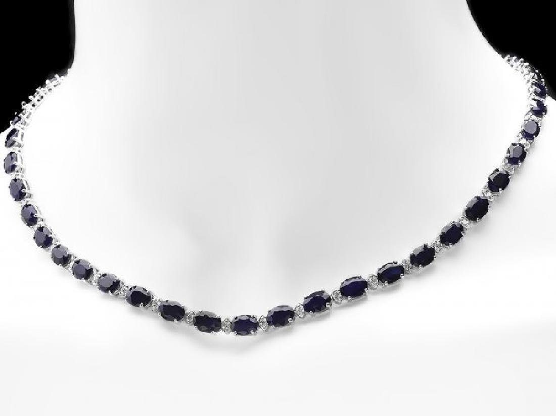 14k Gold 37ct Sapphire 1.85ct Diamond Necklace - 6