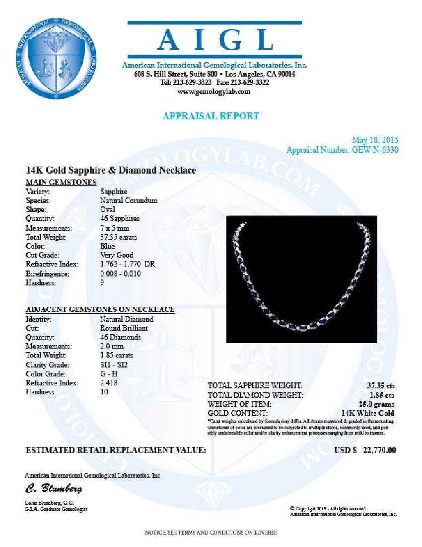 14k Gold 37ct Sapphire 1.85ct Diamond Necklace - 7