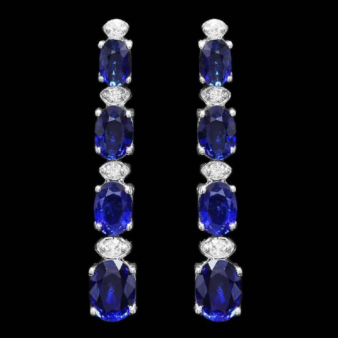 14k Gold 6.50ct Sapphire 0.30ct Diamond Earrings