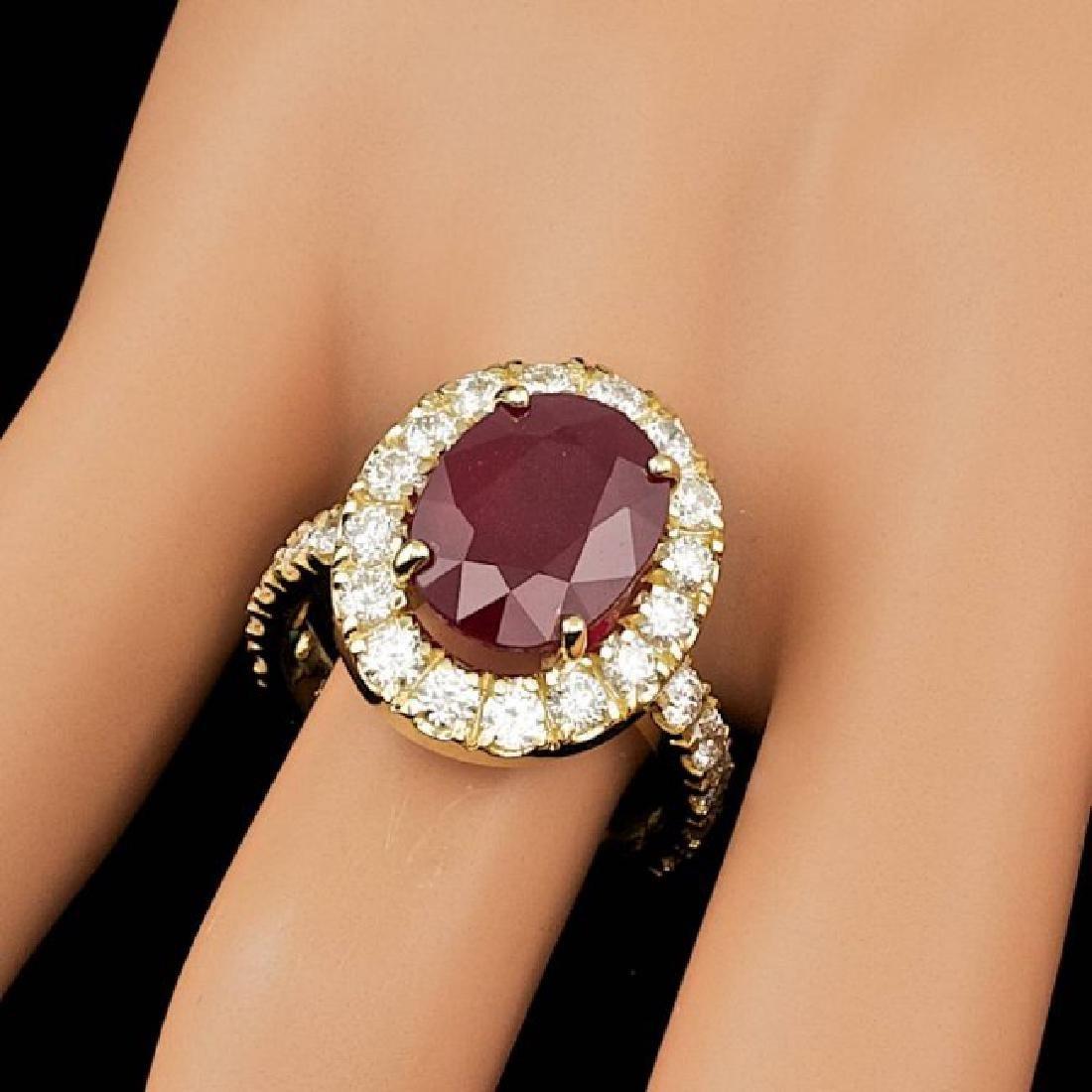 14k Yellow Gold 7.50ct Ruby 1.70ct Diamond Ring - 3